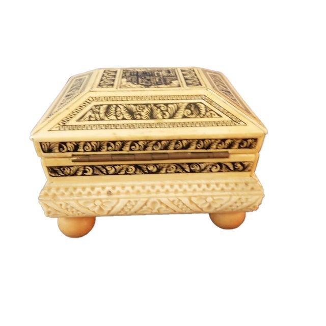 Carved Bone Box w/Ball Feet - Image 2 of 6