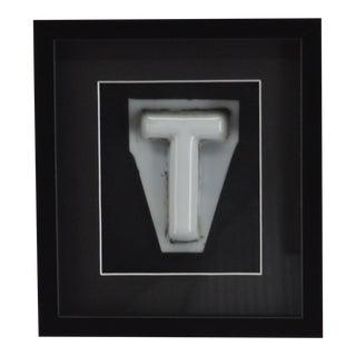"""Antique Sign Letter """"T"""" Milk Glass Framed For Sale"""