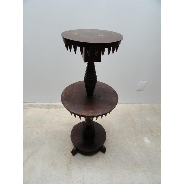 "Brown Vintage ""Tramp Art"" Occasional Table For Sale - Image 8 of 9"