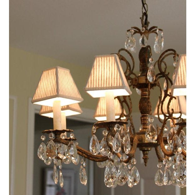 Taupe ivory ticking chandelier lamp shades set of 4 chairish taupe ivory ticking chandelier lamp shades set of 4 image 3 of 5 mozeypictures Image collections