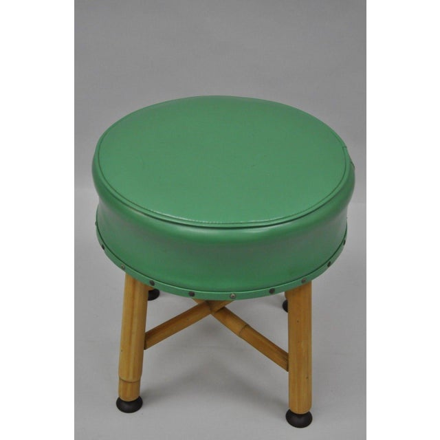 Vintage Green Vinyl Bamboo Wood Stool For Sale - Image 10 of 11