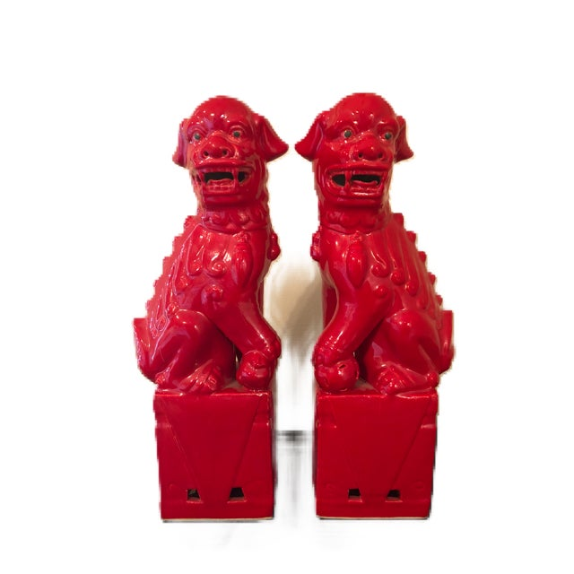 Red Foo Dog Bookends - A Pair For Sale - Image 4 of 4