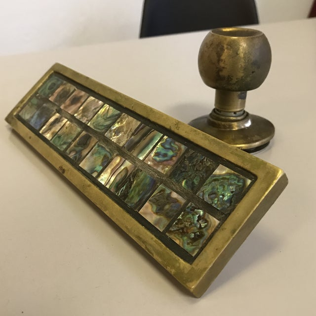Mid-Century Brass & Abalone Door Pull - Image 3 of 9