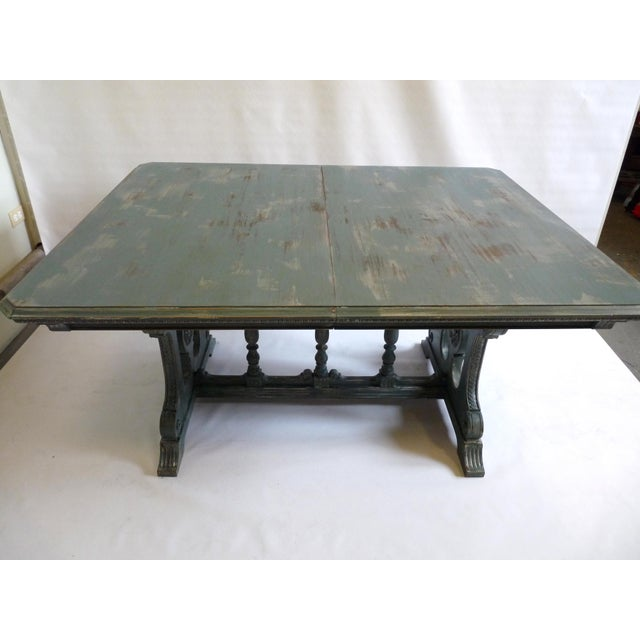 Shabby Chic Vintage Trestle Dining Table With Six Chairs and Upholstered Settee For Sale - Image 3 of 12