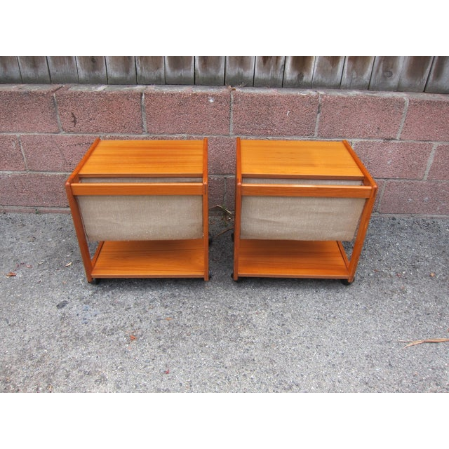 Mid-Century Magazine Storage Side Tables - A Pair - Image 2 of 3