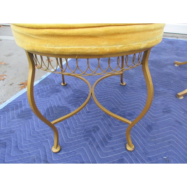 Gold Vintage Hollywood Regency Bistro or Patio Set by Thinline For Sale - Image 8 of 13