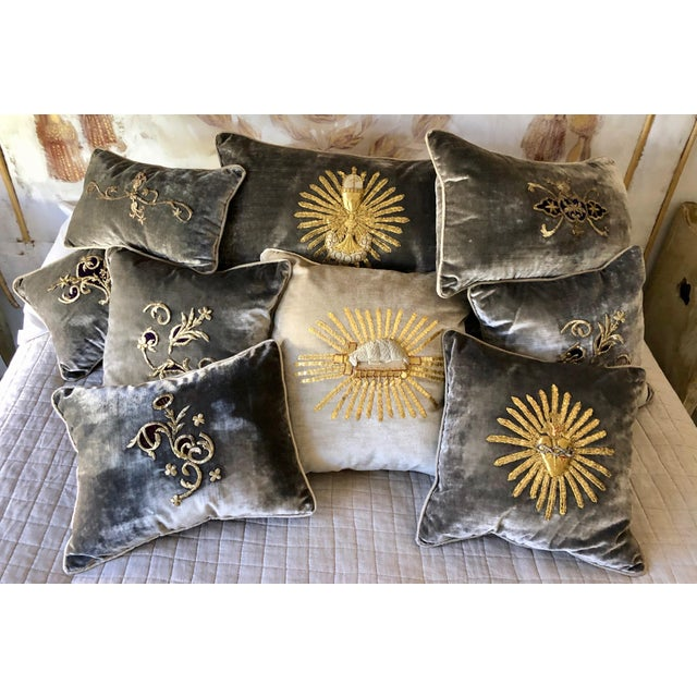 Grey Velvet Pillows Re-Designed With Antique Silver Wire Embroidery- a Pair For Sale - Image 12 of 13