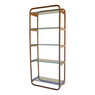 1970s Vintage Milo Baughman Style Italian Rattan Wrapped Cane Bookcase Etagere Wall Unit For Sale