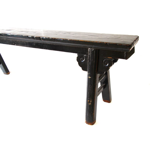 Hand Carved Chinese-Style Black Altar Bench - Image 6 of 8