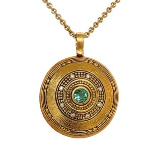 Alex Sepkus 18k Gold Tourmaline & Diamond Pendant on Chain For Sale