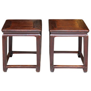 1920s English Elm Ming-Style End Tables - a Pair For Sale