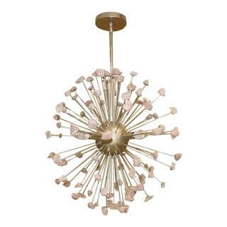 Currey and Company Quartz Moon Rose Quartz Sunburst Sputnik Chandelier For Sale