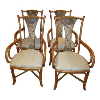 1990s Vintage Bent Bamboo and Upholstery Dining Chairs- Set of 4 For Sale