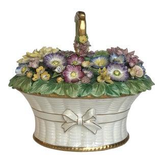 20th Century Cottage Ceramic Floral Basket Lidded Centerpiece Dish For Sale