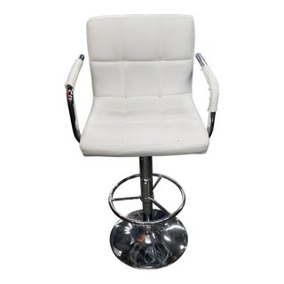 Ivory Leatner and Chrome Stool For Sale