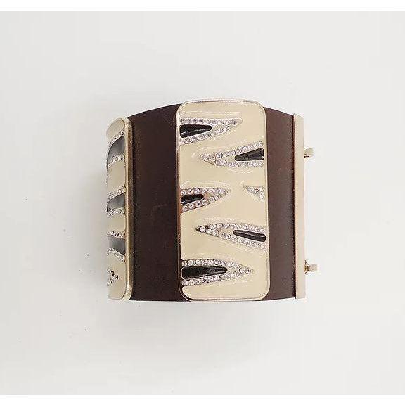 Valentino Leather & Enamel Zebra Stripe Rhinestone Cuff Bracelet For Sale - Image 11 of 12