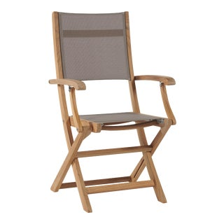 Stella Teak Outdoor Folding Armchair in Taupe Textilene Fabric For Sale