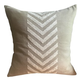 Contemporary Linen Chevron Embroidered Pillow With Down Insert For Sale
