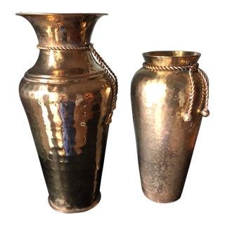 1970s Vintage Brass Tassel Vases - A Pair