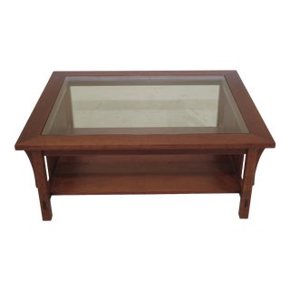 Arts & Crafts Stickley Mission Cherry Glass Top Coffee Table For Sale
