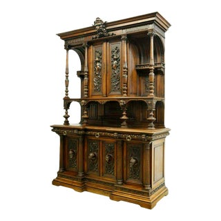 1800s French Renaissance Revival Carved Walnut Sideboard For Sale