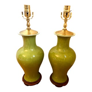 Late 20th Century Apple Green Celadon Crackle Porcelain Vase Lamps - a Pair For Sale