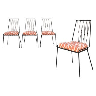 Vintage Mid Century Paul McCobb Wrought Iron Patio Dining Chairs- Set of 4 For Sale