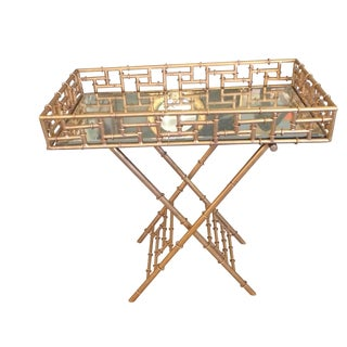 Gilt Metal Chinoiserie Style Bar Tray Table