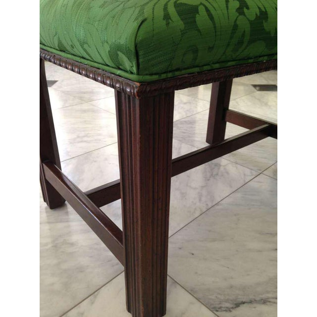 Mahogany English Chippendale Style Stool Upholstered in Green Brocade For Sale - Image 4 of 6