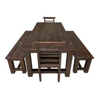 Handcrafted Teak Table + Two Benches + Two Chairs For Sale