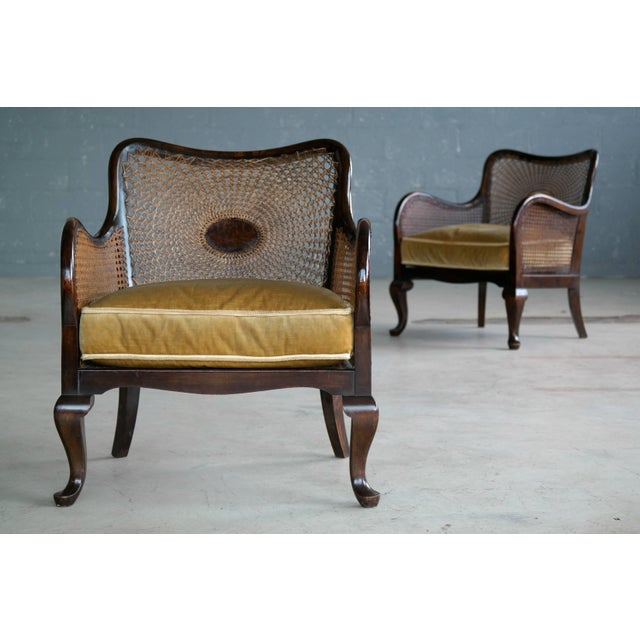 Pair of Danish Early 20th Century Caned Library Bergère Chair in Stained Birch - Image 2 of 10