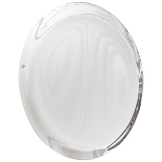 Contemporary Italian Minimalist Curved Silver Glass Round Mirror For Sale