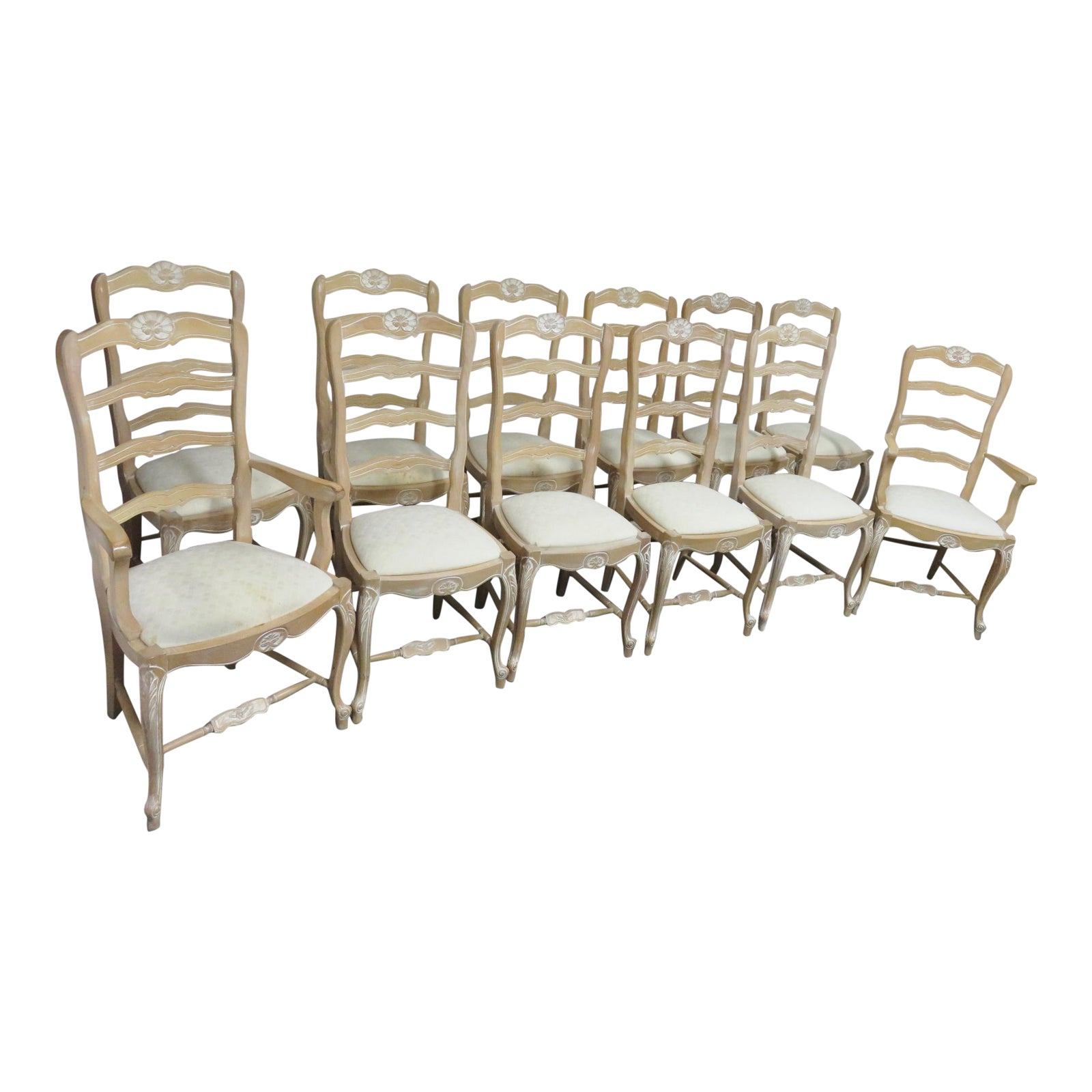 Country French White Maple Dining Chairs Set Of 12