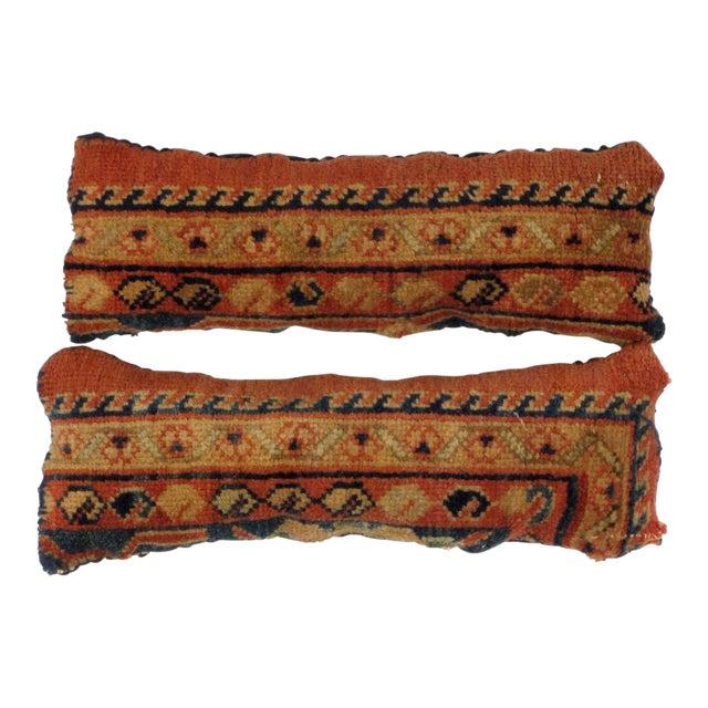 Leon Banilivi Antique Persian Rug Fragment Pillows - a Pair For Sale
