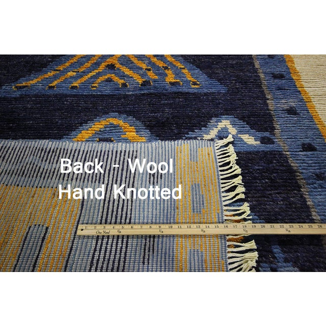 "Blue Wool Tullu Hand Knotted Rug - 7' 10"" X 10' 3"" - Image 7 of 10"