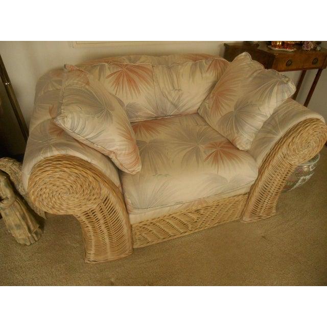 Custom Palm Beach Regency Bamboo Lounge & Ottoman - Image 3 of 8