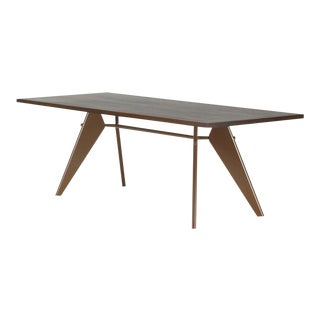Vitra EM Table in Solid Smoked Oak and Coffee by Jean Prouvé For Sale