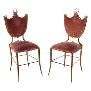 Italian Brass Neoclassical Side Chairs - A Pair