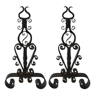 Early 20th Century Traditional Wrought Iron Andirons With Scrollwork Motif - a Pair For Sale