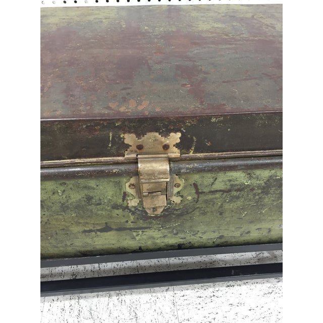 Antique English Military Metal Trunk on Stand For Sale In Raleigh - Image 6 of 7