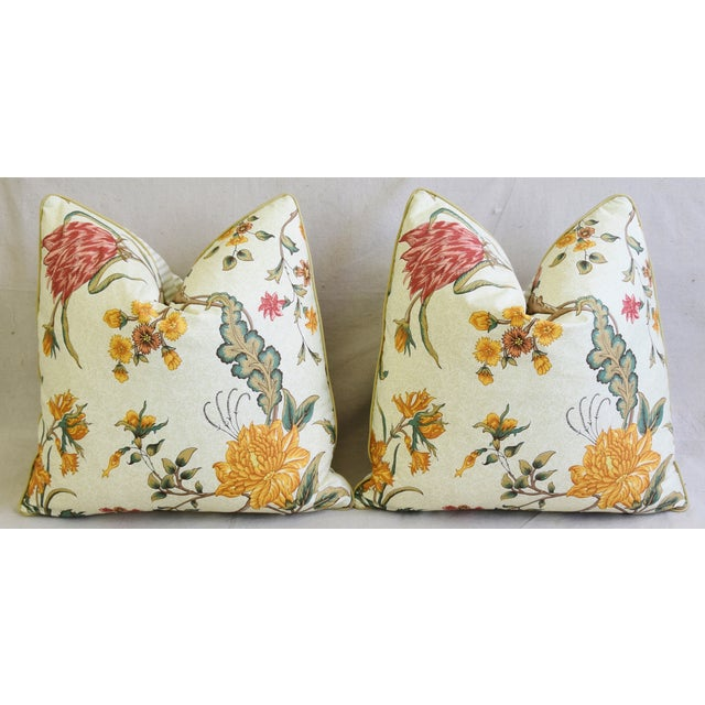 "Schumacher Arbre Fleuri Floral & Ticking Feather/Down Pillows 20"" Square - Pair For Sale In Los Angeles - Image 6 of 13"