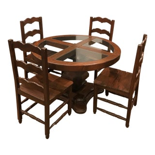Rustic Round Table & Ladder Back Wooden Chairs Dining Set