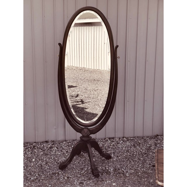 1920s Vintage Mahogany Claw Foot Cheval Mirror For Sale - Image 5 of 5