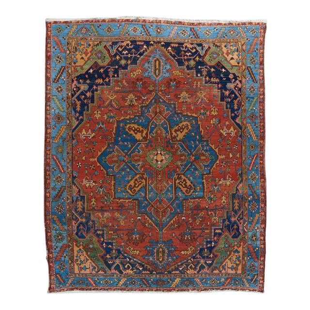 Heriz Red Ground Medallion Carpet For Sale