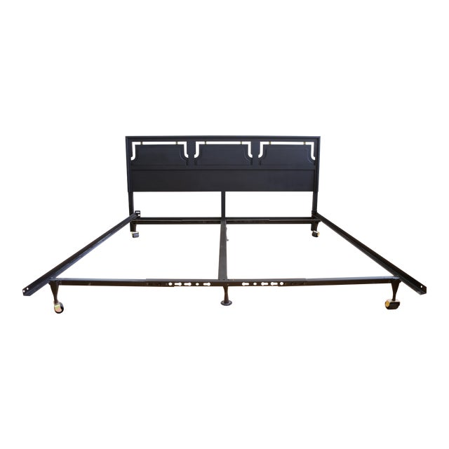 Mid-Century Modern Black King Size Bed - Image 1 of 5