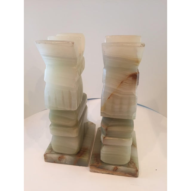 Vintage Aztec Hand Carved Stone Onyx Bookends - A Pair - Image 3 of 4