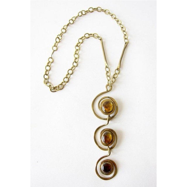 Rafael of Canada Brass + Amber Tone Glass Canadian Modernist Necklace For Sale - Image 4 of 4
