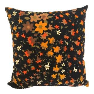 Mid Century Velvet Floral Pillow For Sale