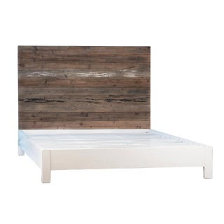 Natural Wood and White Queen Bed For Sale