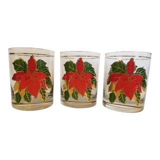 Culver Mid-Century Modern Poinsettia Double Old Fashioned Glasses - Set of 3 For Sale